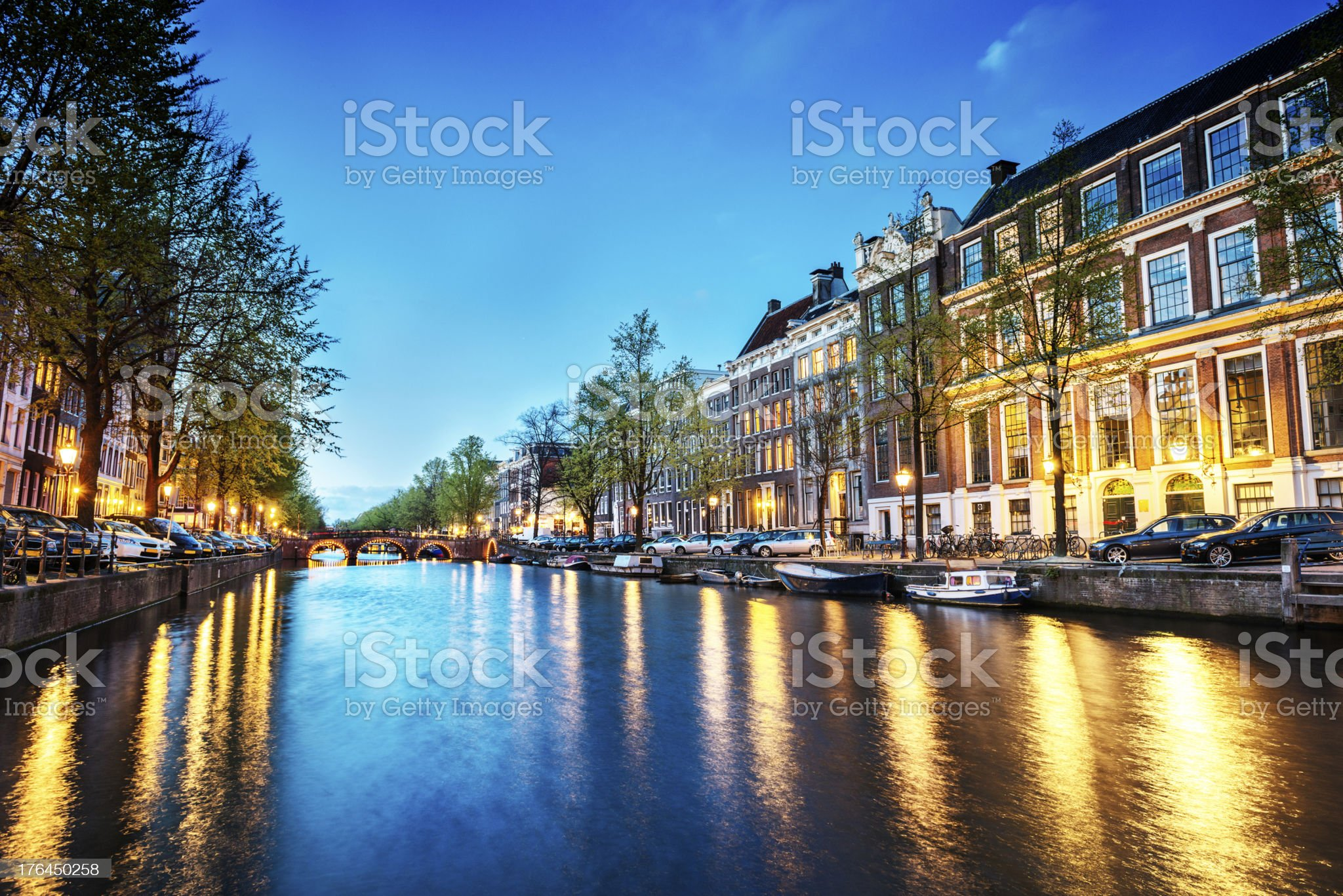 Amsterdam City Scene Water Canal at Night royalty-free stock photo
