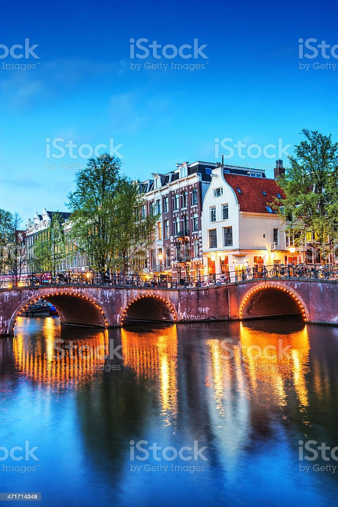 Amsterdam City Scene Water Canal at Night stock photo