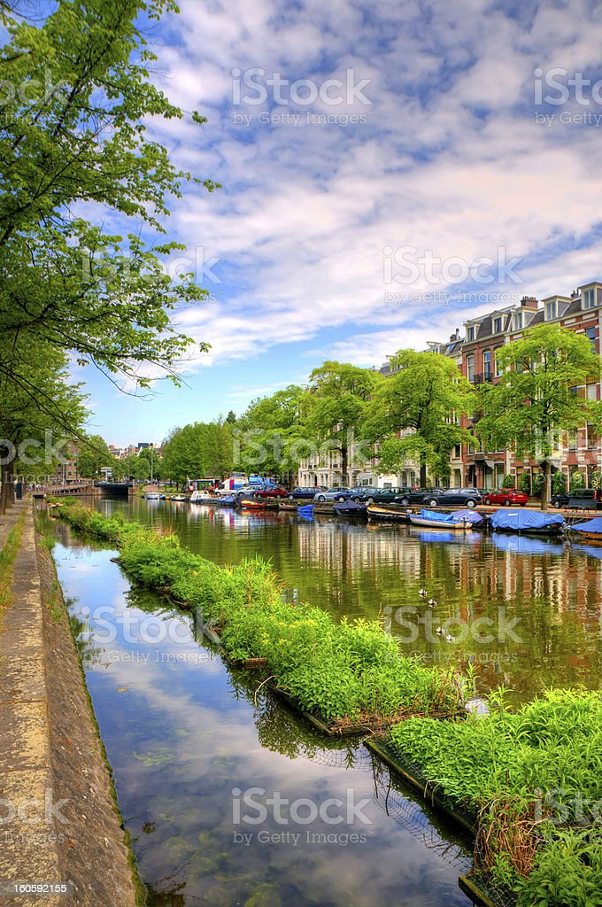 Amsterdam City Scene Water Canal on Sunset royalty-free stock photo
