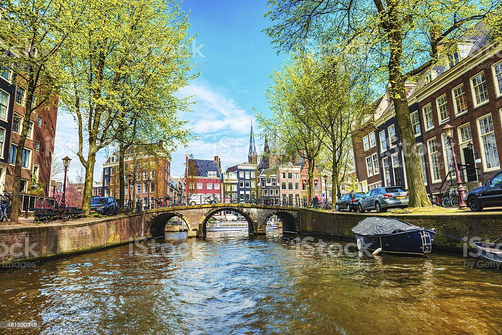 Amsterdam City Scene Water Canal stock photo