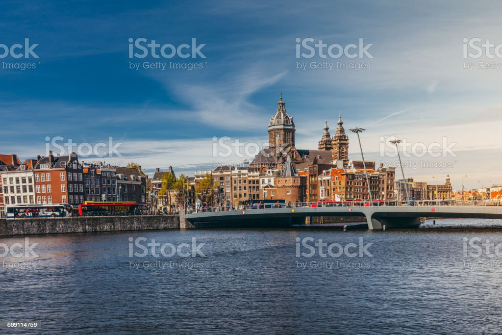 Amsterdam City Skyline stock photo