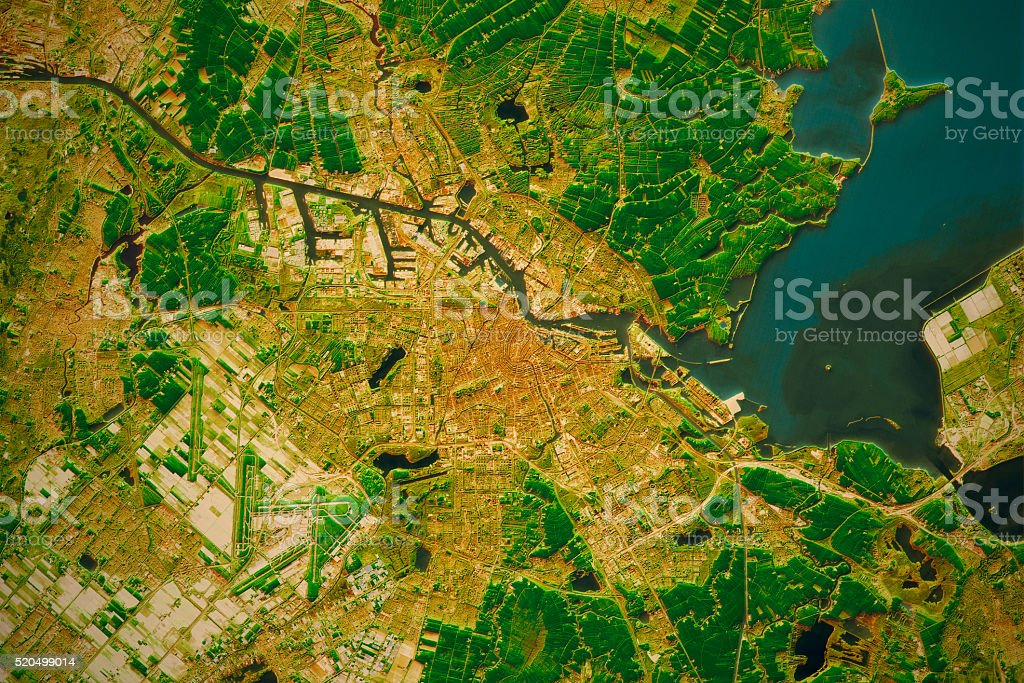Amsterdam City Topographic Map Natural Color stock photo