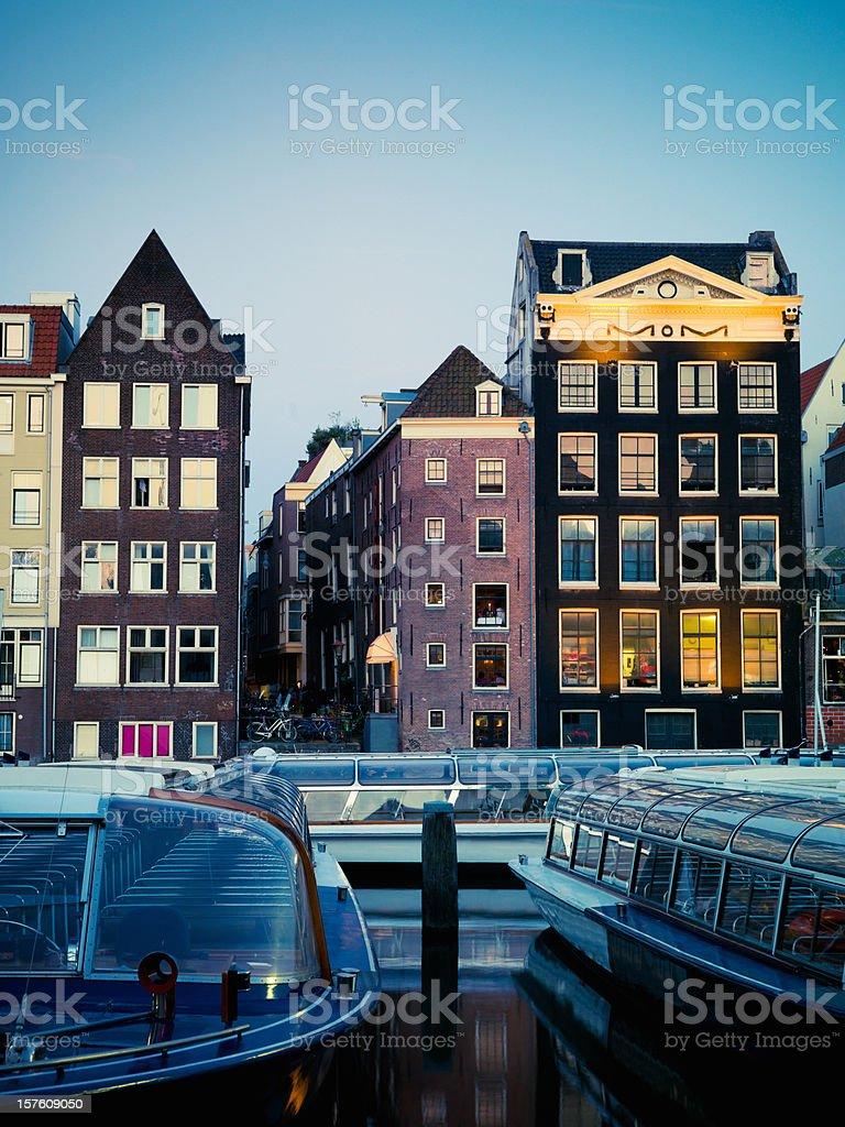 Amsterdam City Twilight Scene royalty-free stock photo