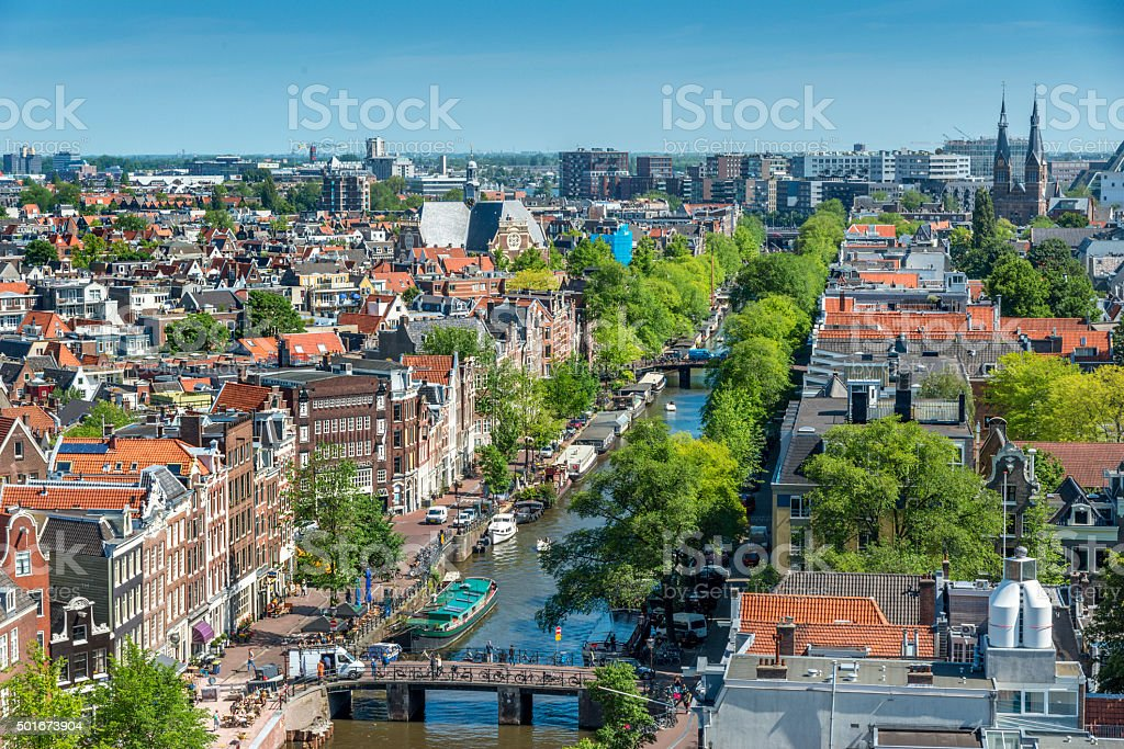 Amsterdam city view from Westerkerk, Holland, Netherlands. stock photo