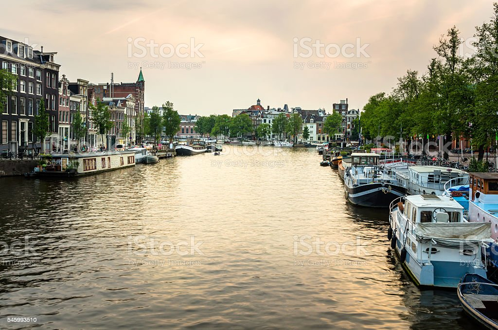 Amsterdam Cityscape at Sunset stock photo