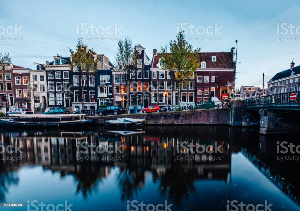 Amsterdam cityscape with canals in Netherlands stock photo