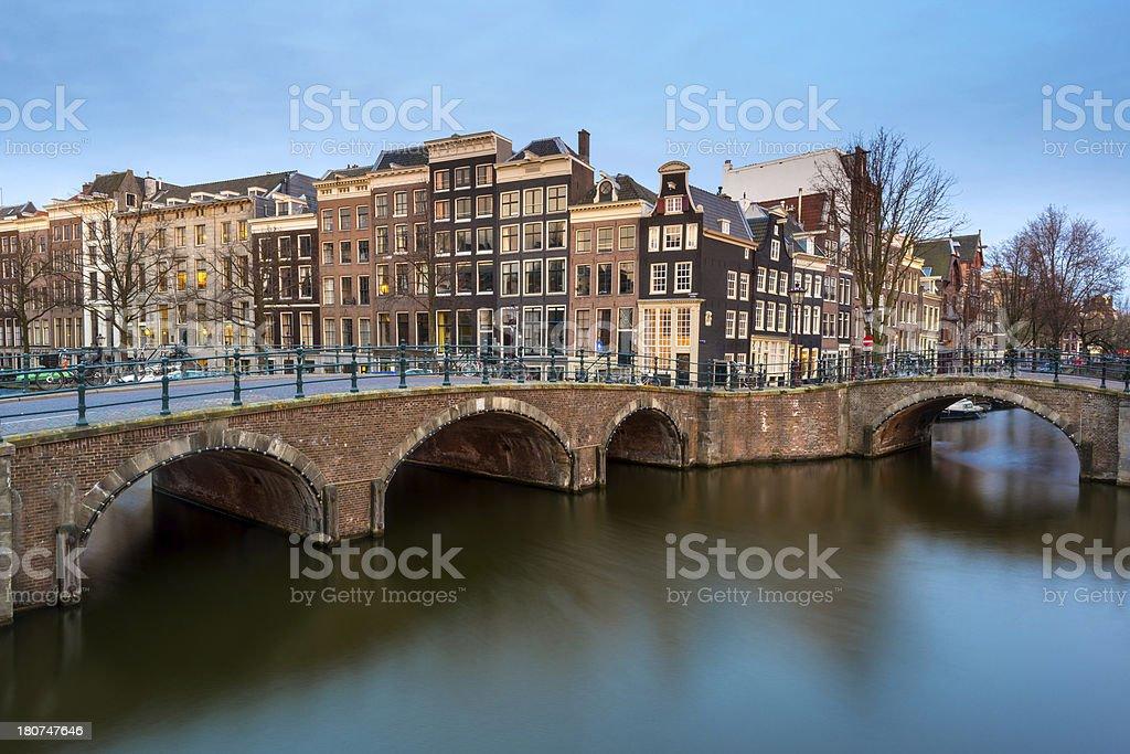 Amsterdam Dusk Canal Scene, Netherlands royalty-free stock photo