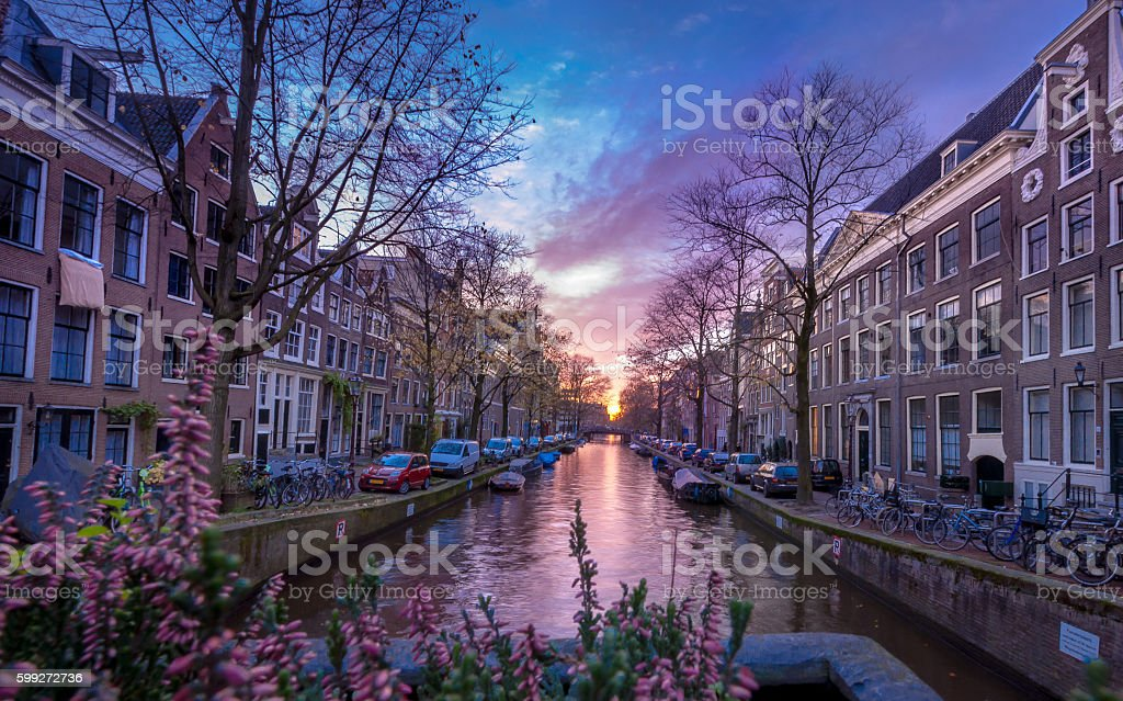 Amsterdam evening canal view. stock photo