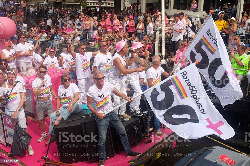 Amsterdam Gay Pride 50plus stock photo