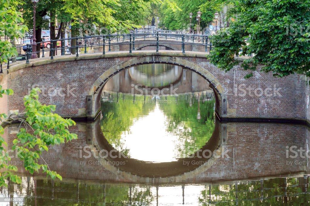 Amsterdam green bridges stock photo