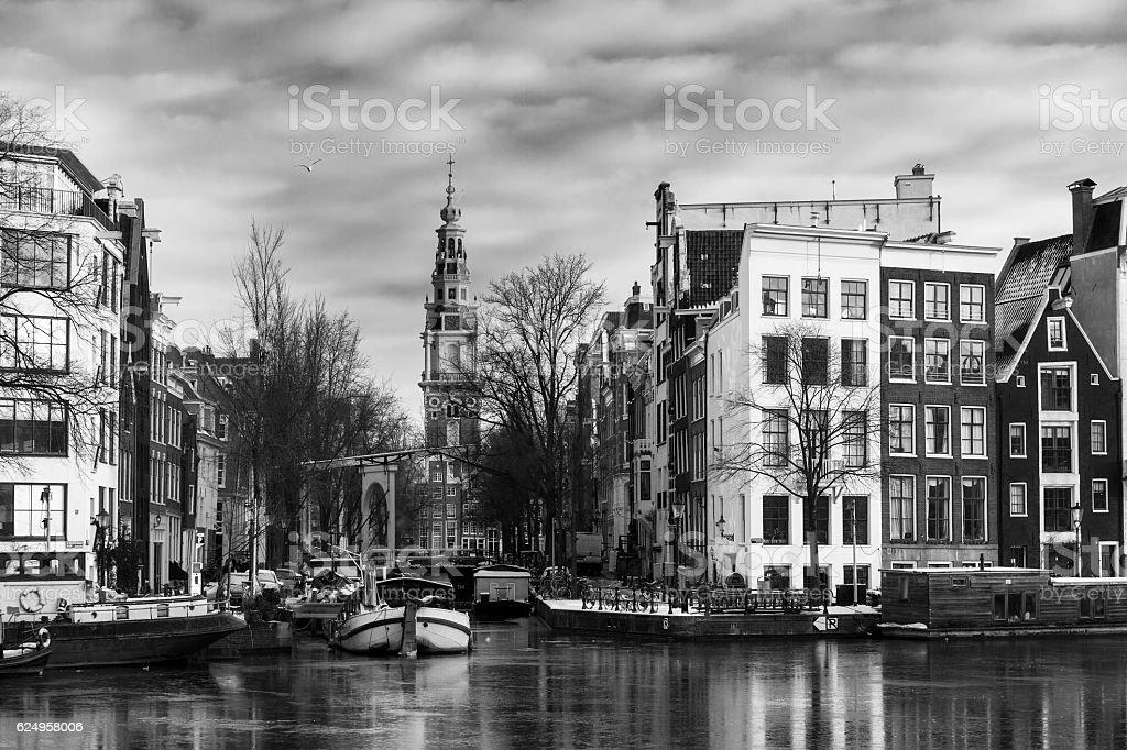 Amsterdam Groenburgwal BW stock photo