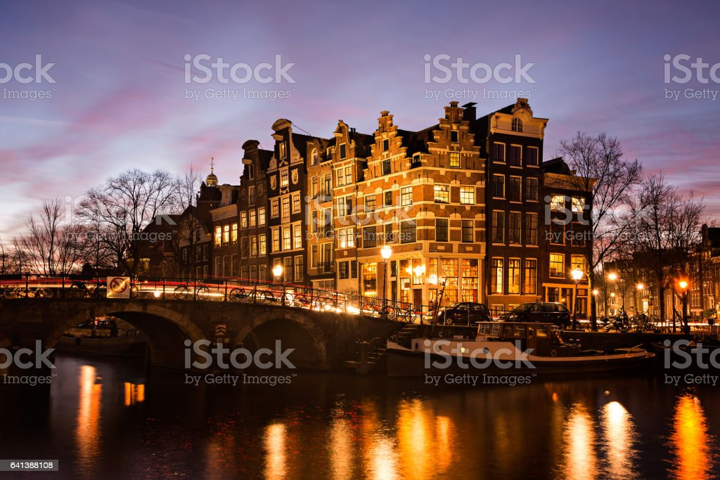 Amsterdam houses along the canals at twilight stock photo