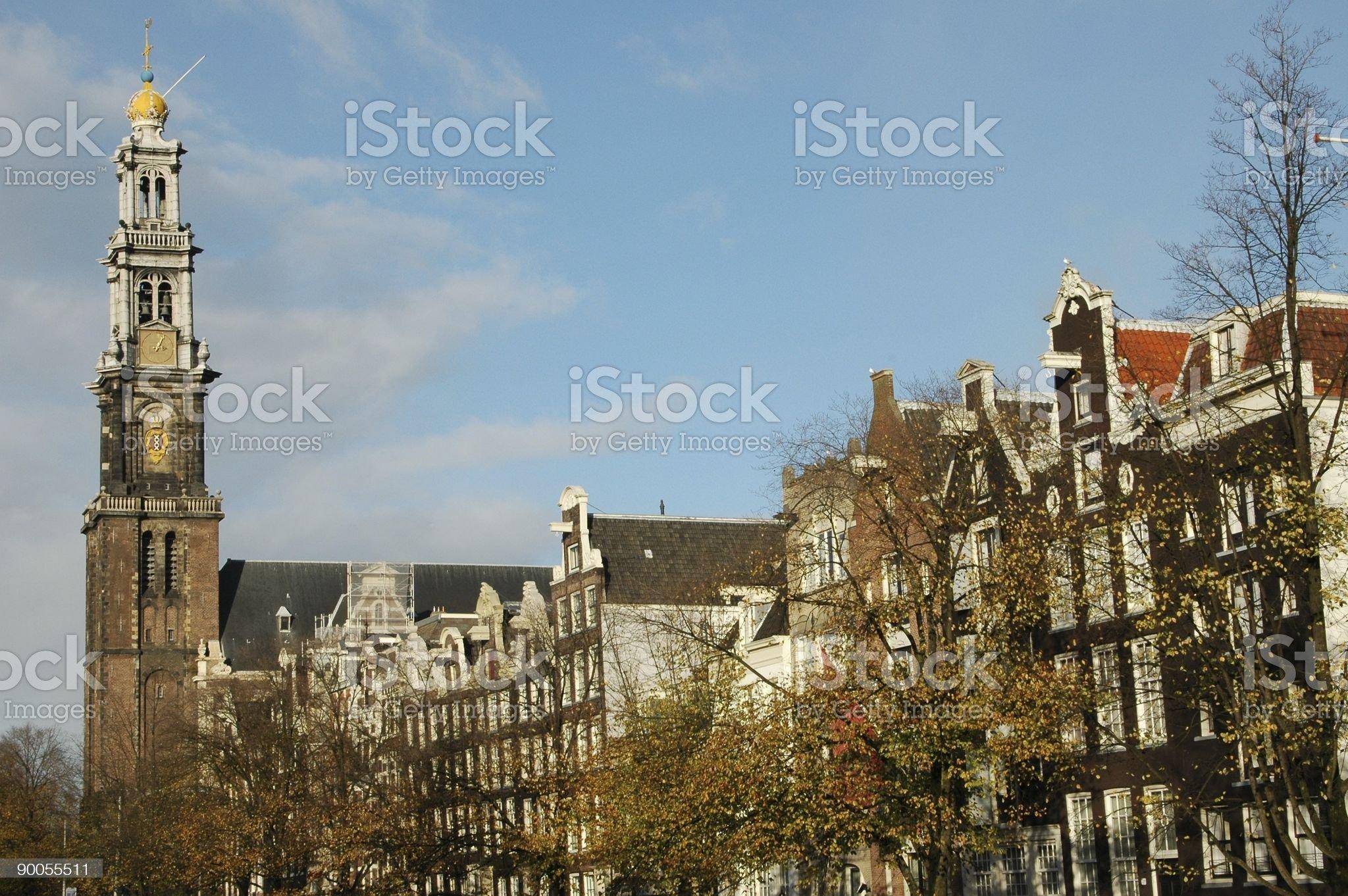 Amsterdam houses and Westerkerk royalty-free stock photo