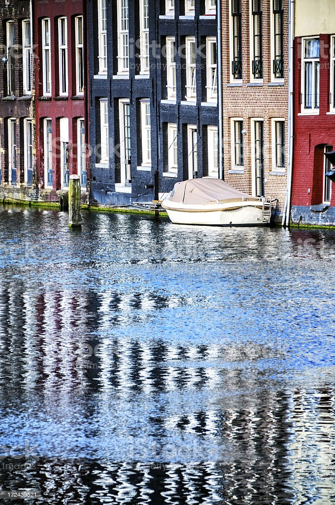 Amsterdam Houses Reflected in Canal royalty-free stock photo