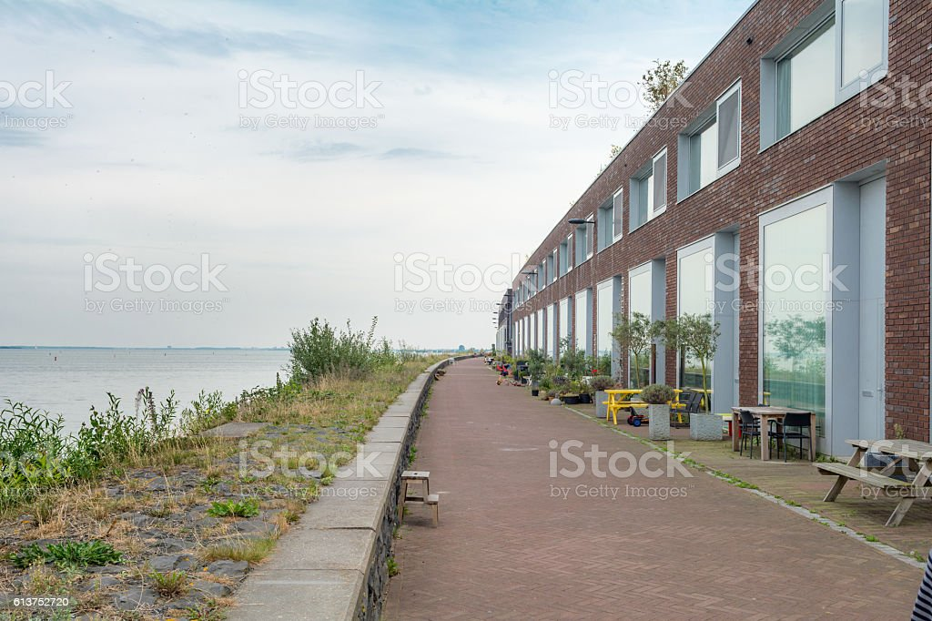 Amsterdam improvised front gardens on Steigereiland stock photo