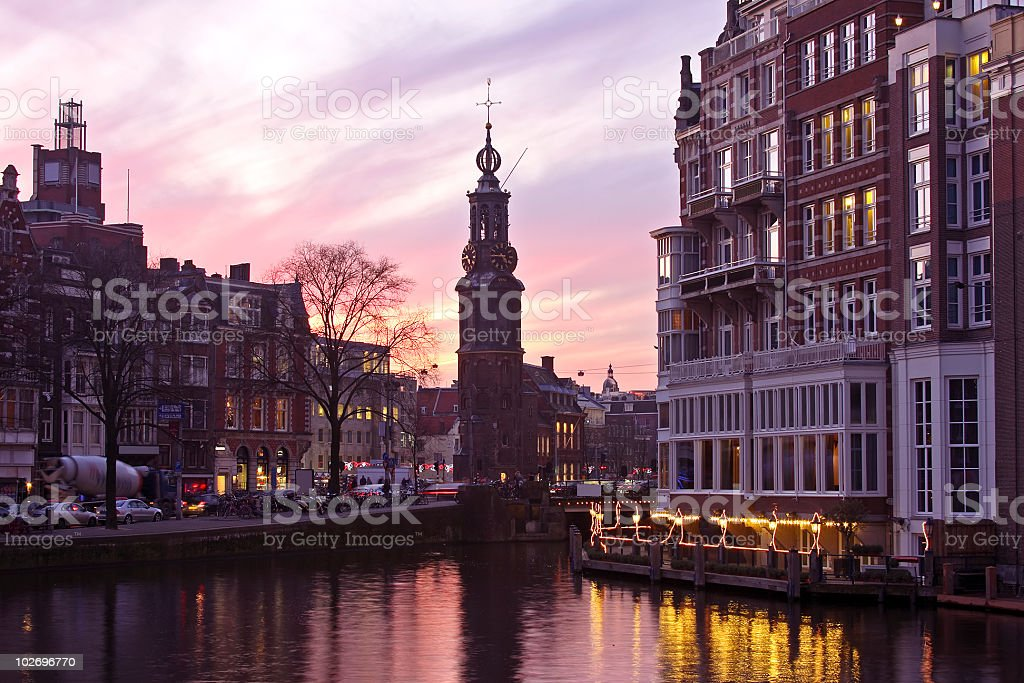 Amsterdam innercity with the Munttower in Netherlands royalty-free stock photo