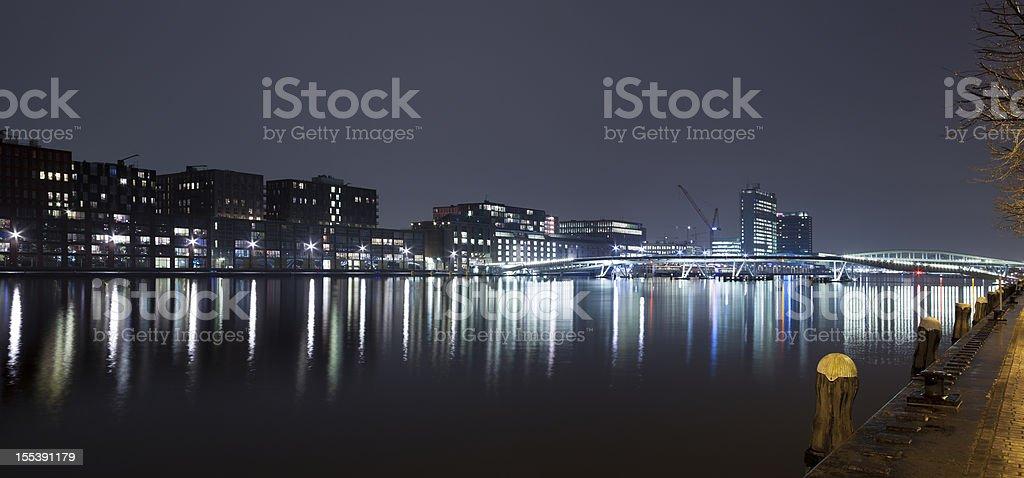 Amsterdam Java-eiland and Jan Schaeferbrug skyline at night, panorama royalty-free stock photo