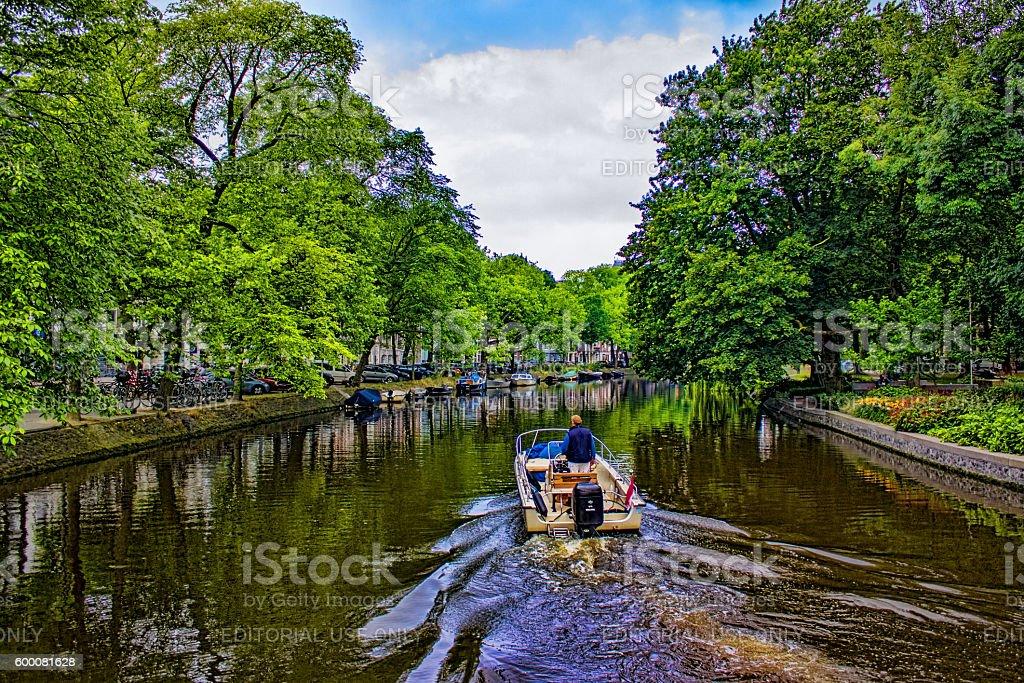 Amsterdam landscape in summertime in Netherlands stock photo