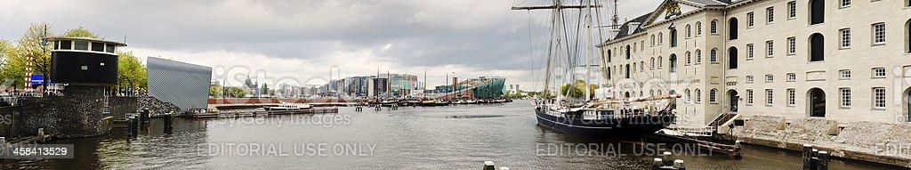 Amsterdam Marine Museum and cityscape stock photo