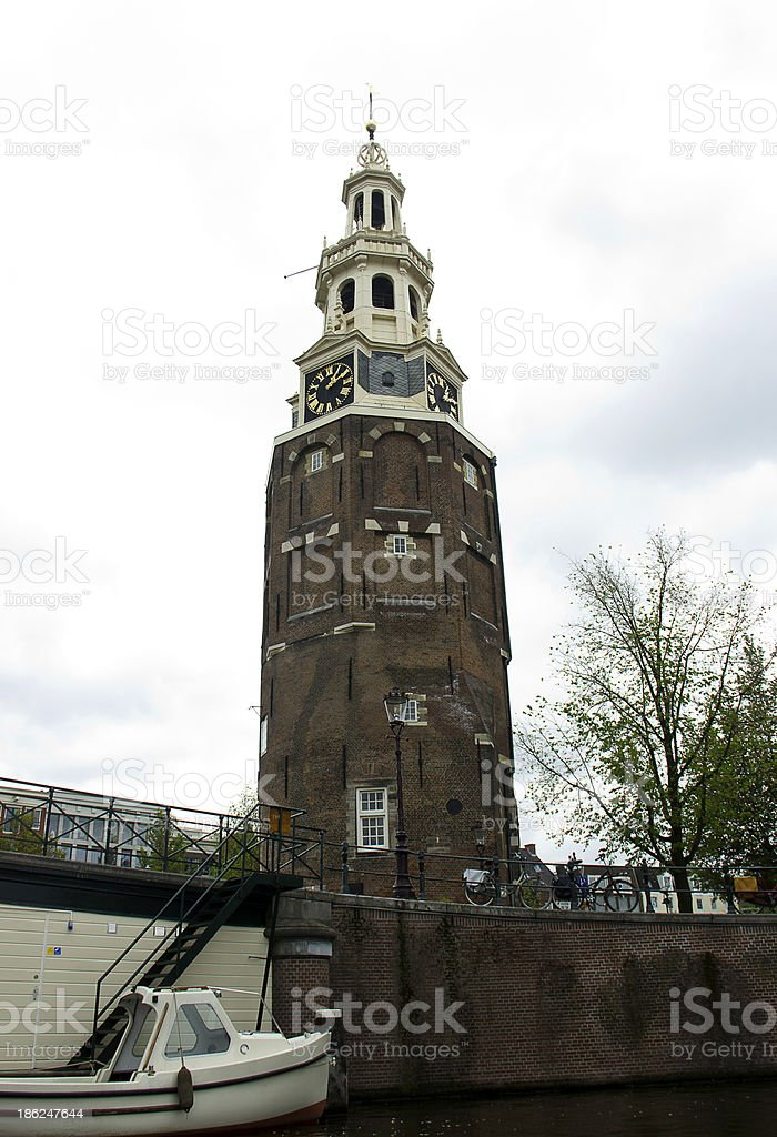 Amsterdam - Montelbaanstoren Clock Tower royalty-free stock photo