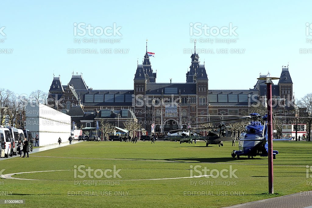Amsterdam Museumplein during the arrival of President Obama stock photo