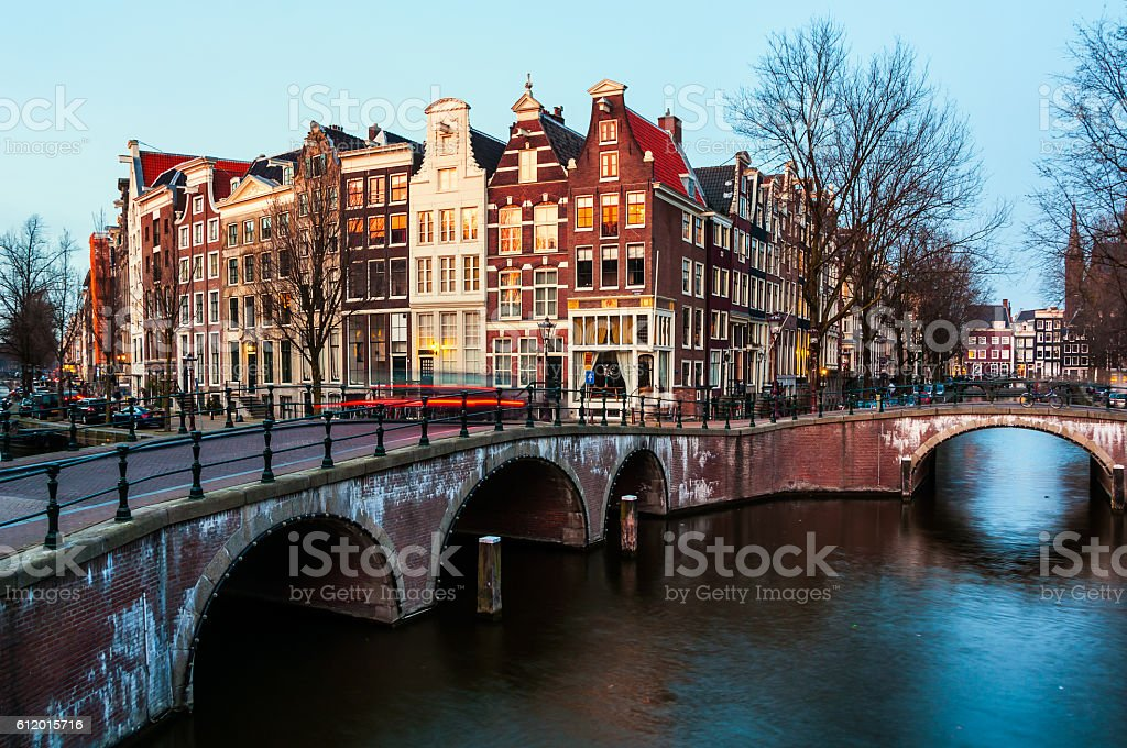 Amsterdam, Netherlands canals and bridges stock photo