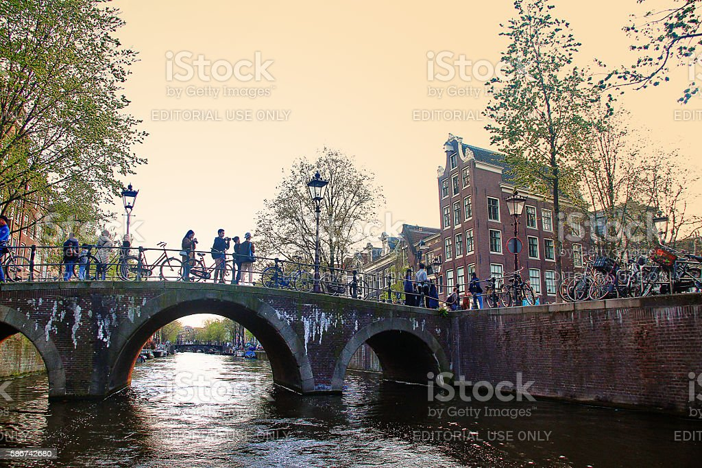 Amsterdam, Netherlands - May 04, 2016 - Cityscape of Amsterdam stock photo