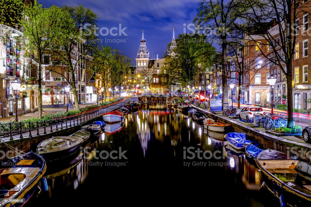 Amsterdam night scene stock photo