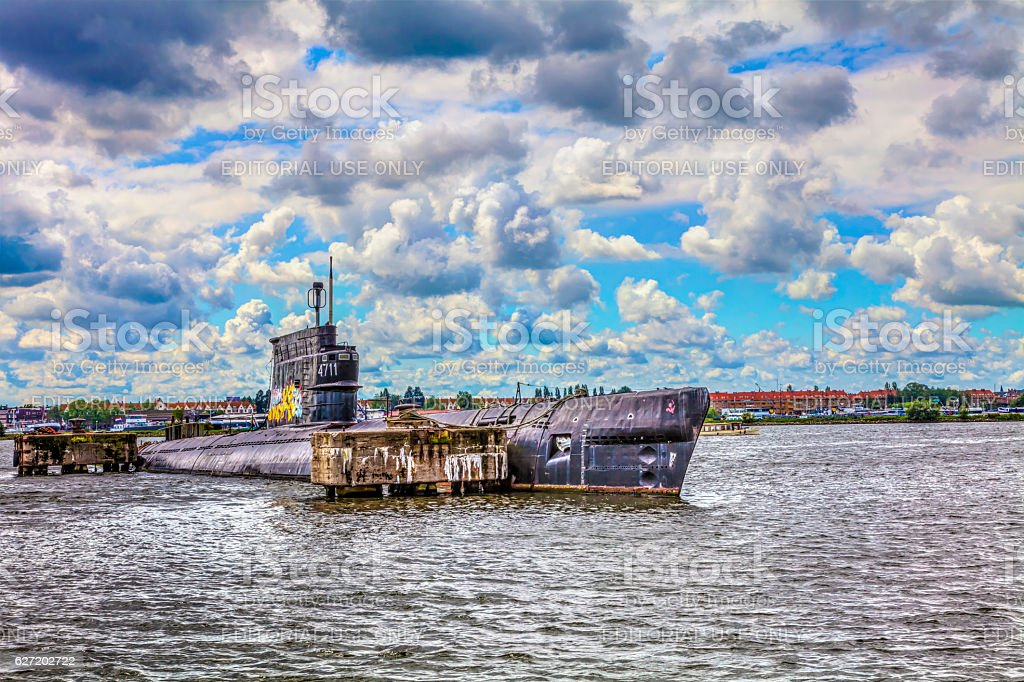 amsterdam old submarines stock photo