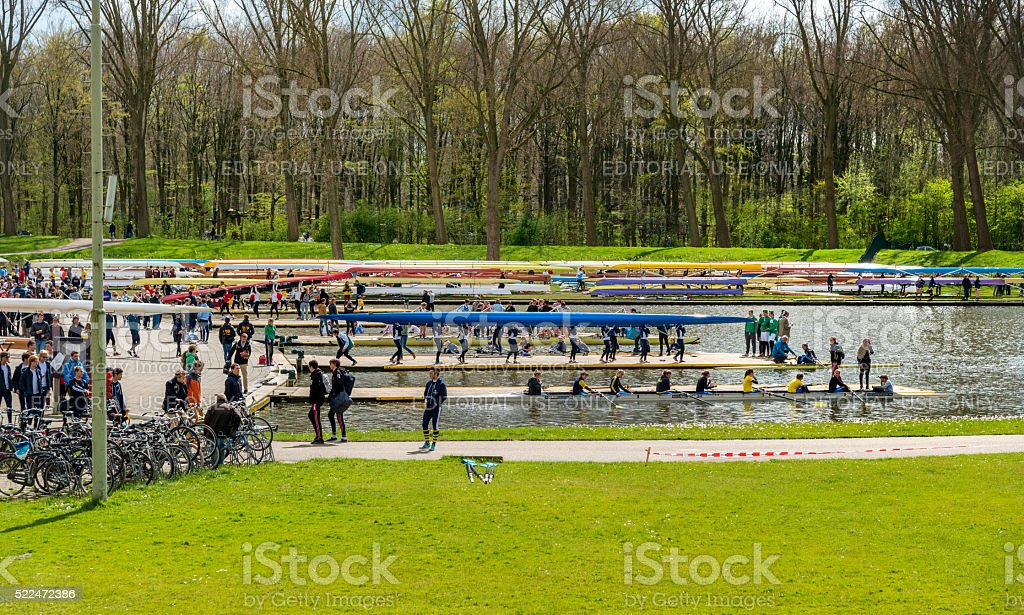 Amsterdam olympic rowing track stock photo