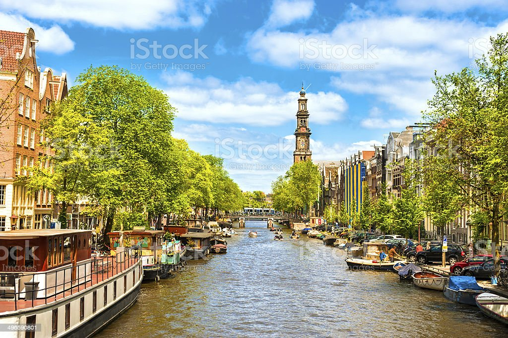 Amsterdam Prinsengracht Canal with Westerkerk stock photo