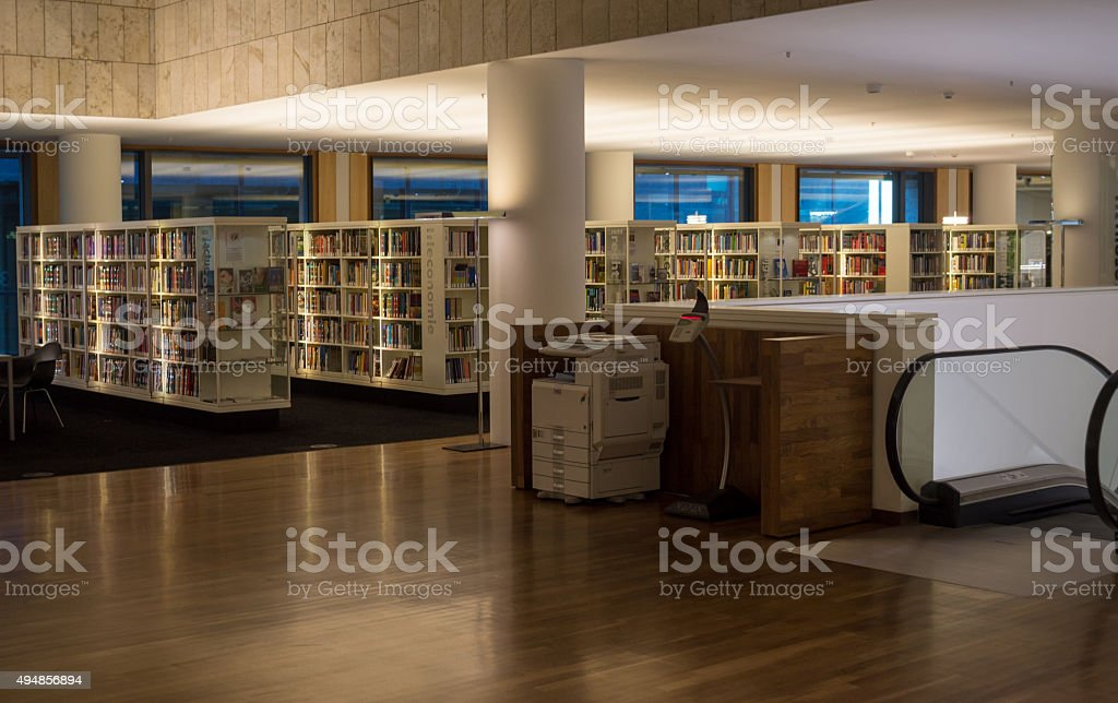 Amsterdam Public Library modern equipment & interior stock photo