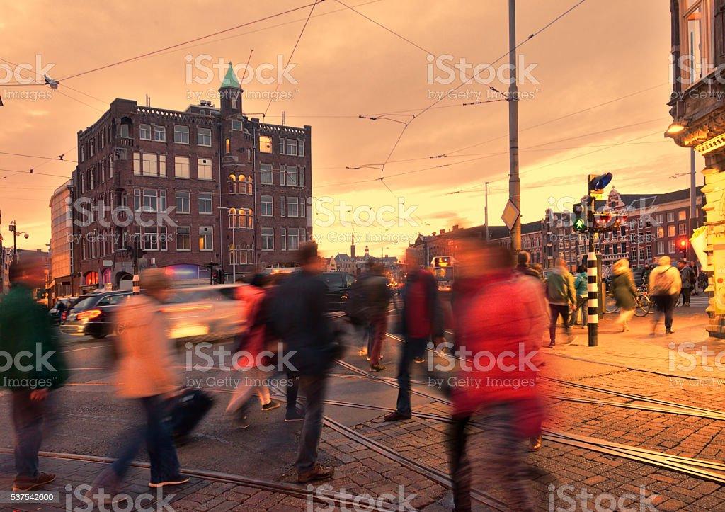 Amsterdam rush hour at dusk stock photo