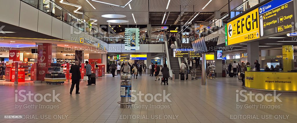 Amsterdam - Schiphol Plaza at Schiphol airport stock photo