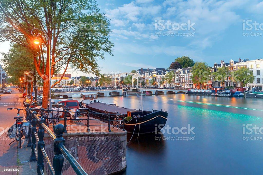 Amsterdam. Skinny Bridge at sunset. stock photo