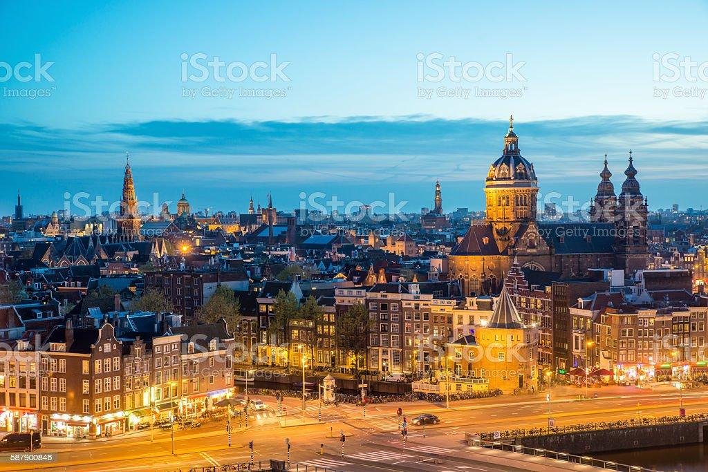 Amsterdam skyline at night, Amsterdam, Netherlands. stock photo