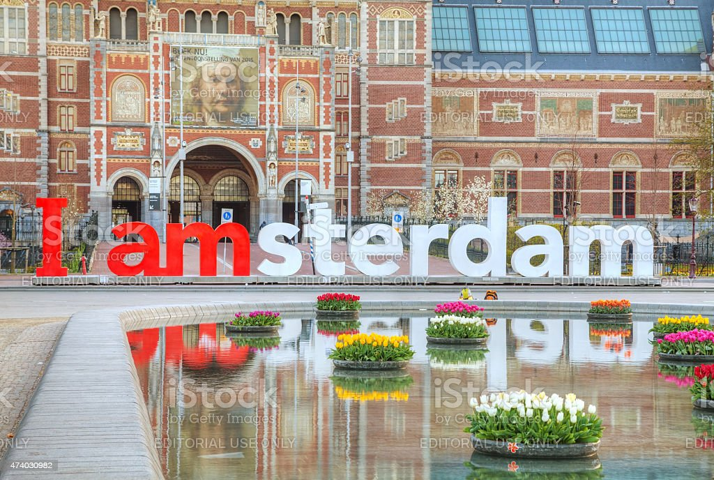 I Amsterdam slogan early in the morning stock photo