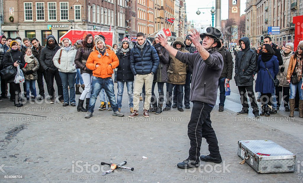 Amsterdam Square Street Performer stock photo
