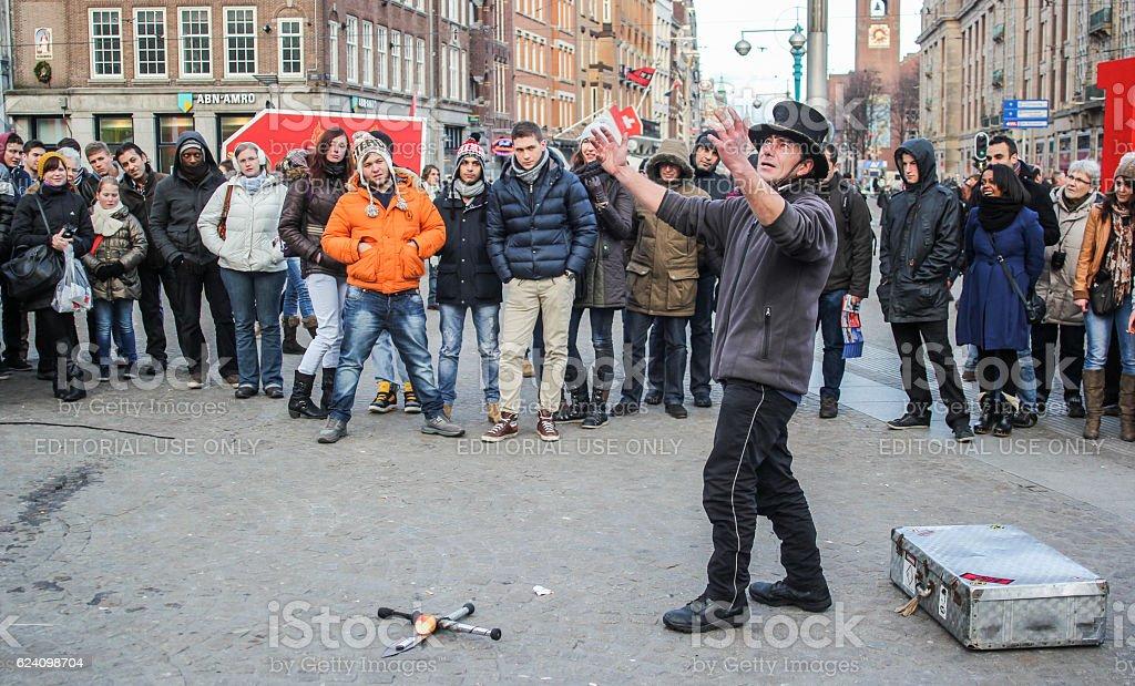Amsterdam Square Street Performer stock photo
