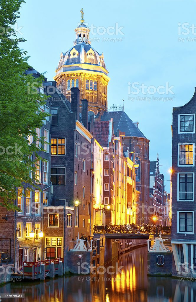 Amsterdam: St. Nicolas Church and Canals royalty-free stock photo