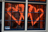Amsterdam store windows with hearts