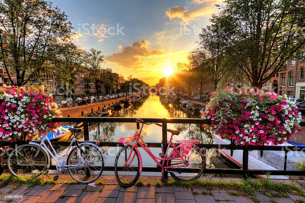 Amsterdam summer sunrise stock photo
