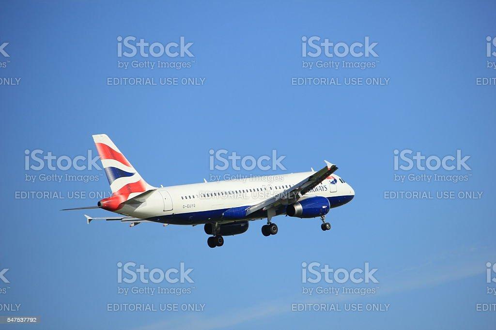 Amsterdam, the Netherlands, July, 15th 2016: G-EUYG British Airways Airbus stock photo