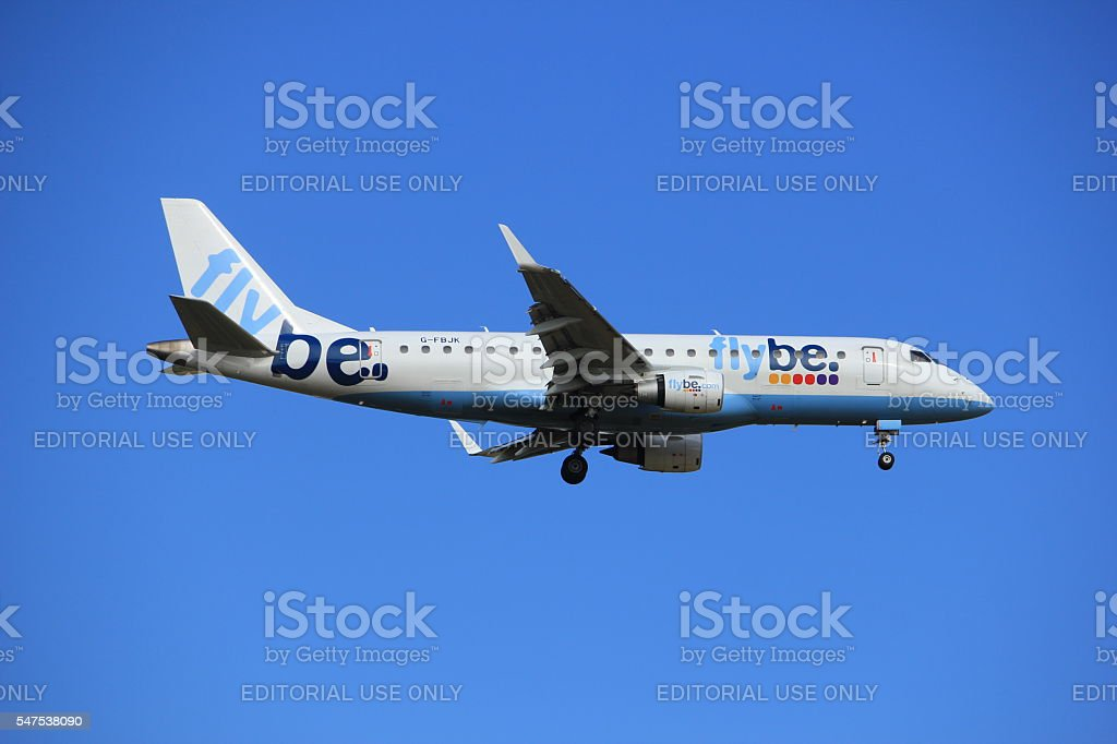 Amsterdam, the Netherlands, July, 15th 2016: G-FBJK Flybe Embraer stock photo