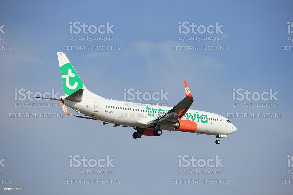 Amsterdam, the Netherlands, July, 21st 2016:PH-GUX  Transavia Boeing 737 stock photo