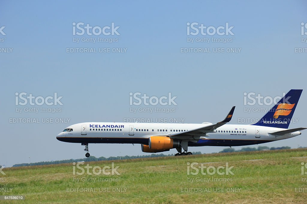 Amsterdam, The Netherlands - June 12 2015: TF-FIJ Icelandair Boe stock photo