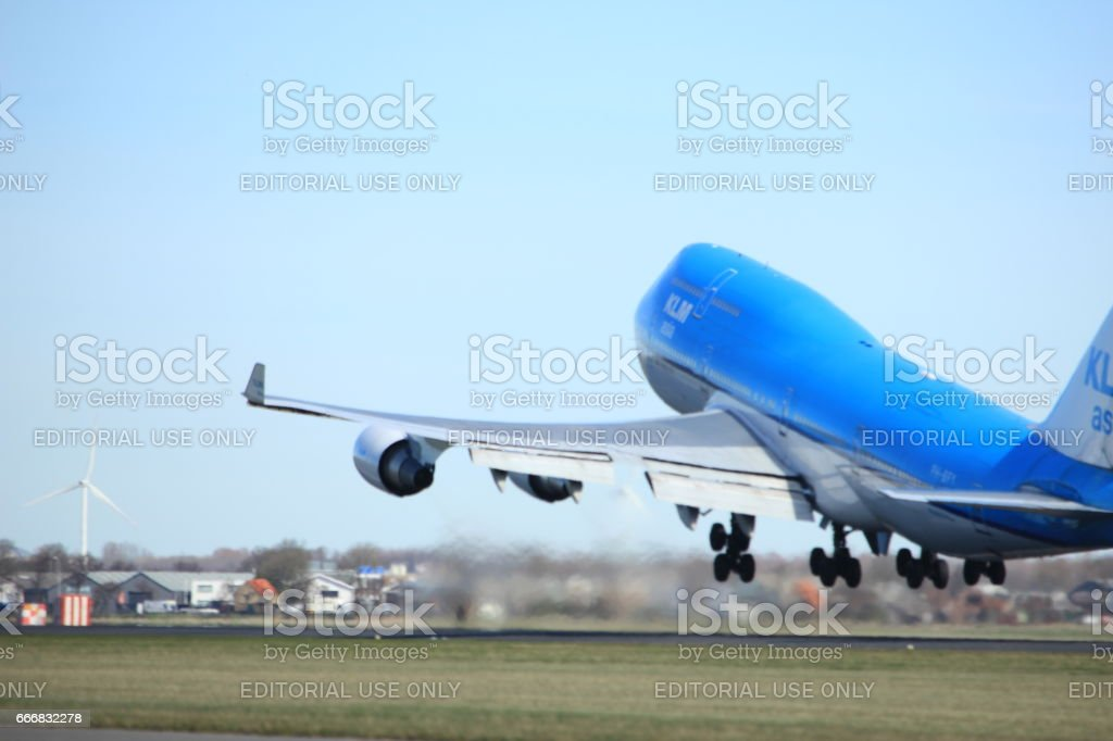 Amsterdam the Netherlands - March 25th, 2017: PH-BFY KLM Royal Dutch Airlines Boeing 747 stock photo