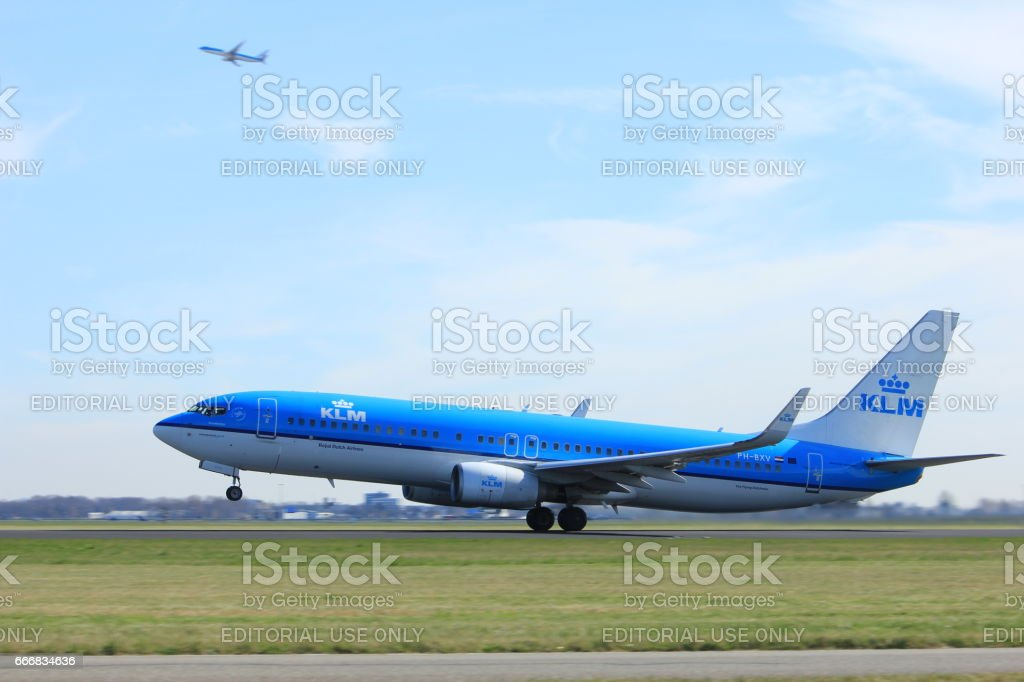 Amsterdam the Netherlands - March 25th, 2017: PH-BXV KLM Royal Dutch Airlines Boeing 737 stock photo
