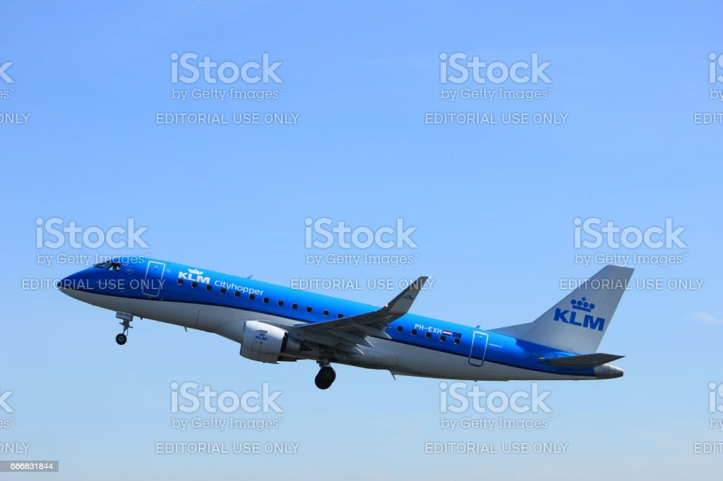 Amsterdam the Netherlands - March 25th, 2017: PH-EXB KLM Cityhopper Embraer ERJ-190 stock photo