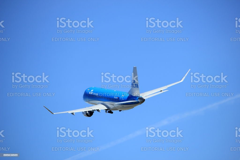 Amsterdam the Netherlands - March 25th, 2017: PH-EXI KLM Cityhopper Embraer ERJ-175 stock photo